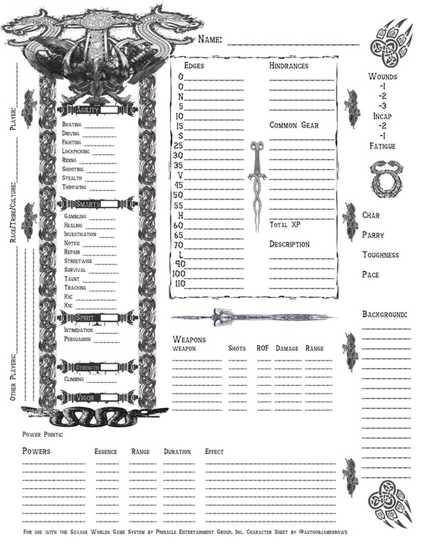Fantasy sheet